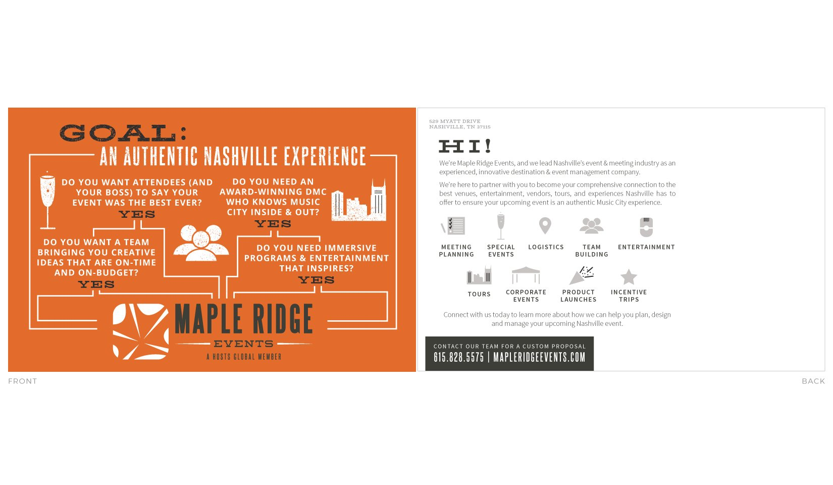 Maple Ridge Events Client Portfolio - Postcard