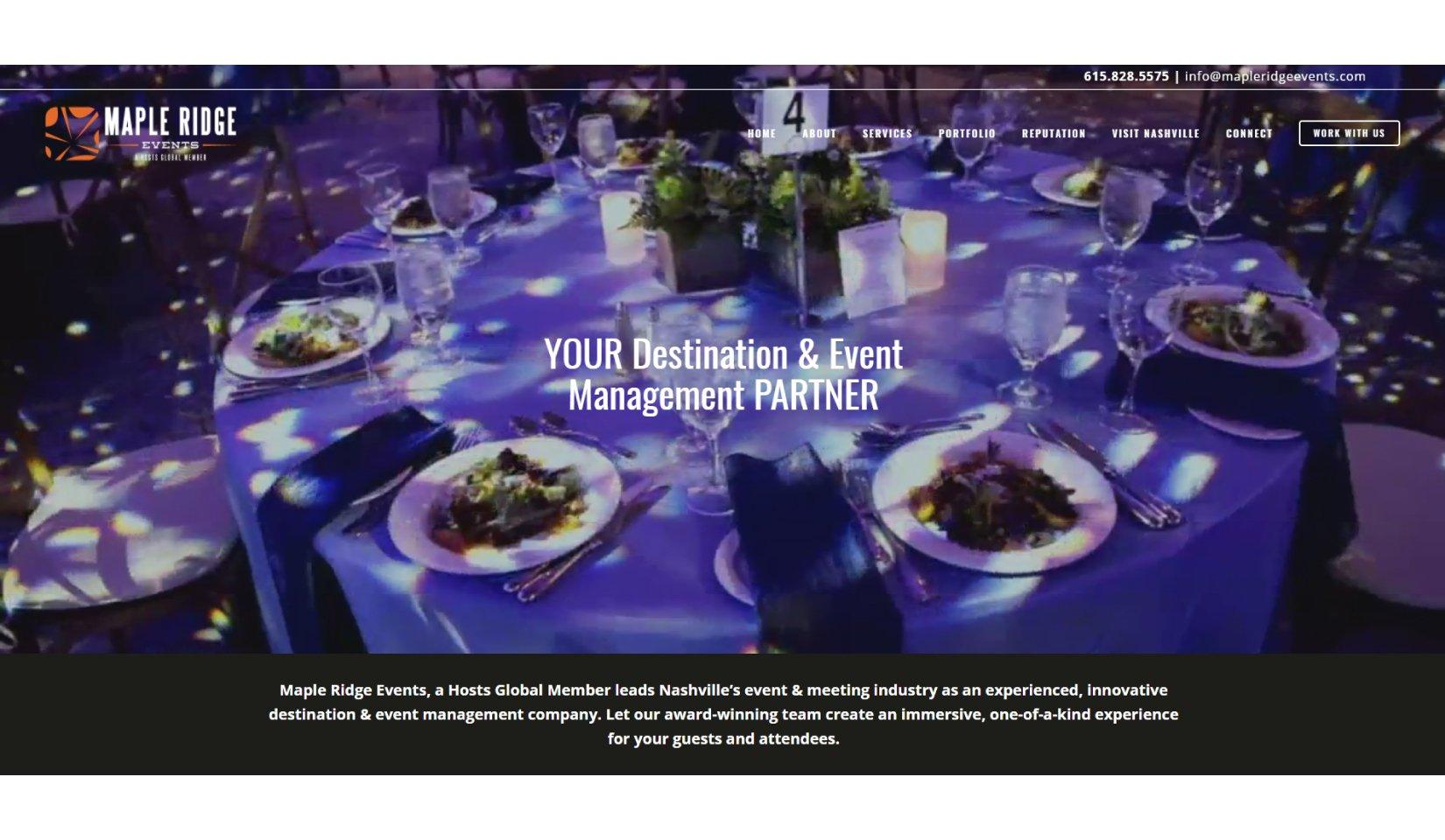 Maple Ridge Events Client Portfolio - Website Design
