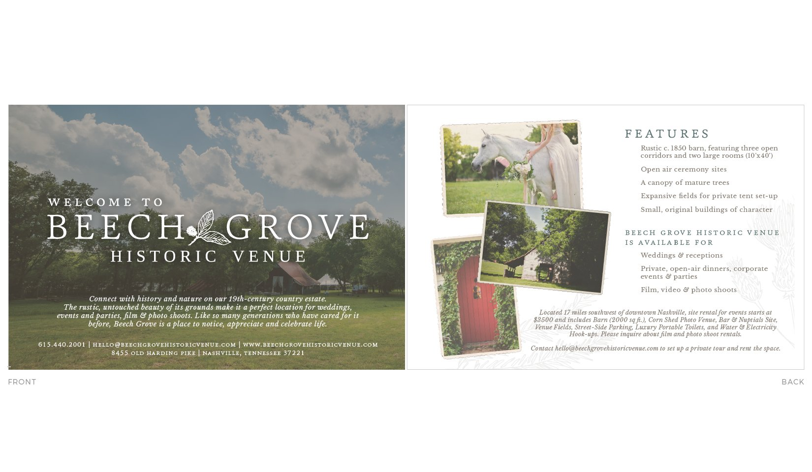 Beech Grove Historic Venue Path and Compass Client Portfolio Collateral