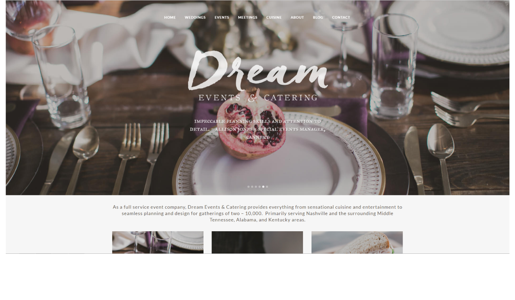 Dream Events & Catering Path and Compass Client Portfolio
